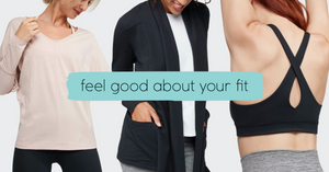 feel good about your fit with adorn dolman tank, resolution cardigan, mudra bra by manduka yoga.