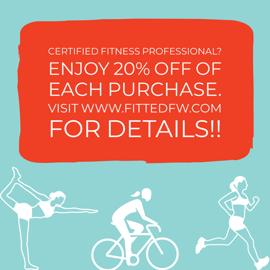 certified fitness professionals enjoy 20% off each purchase from fitted athletic and athleisure apparel.