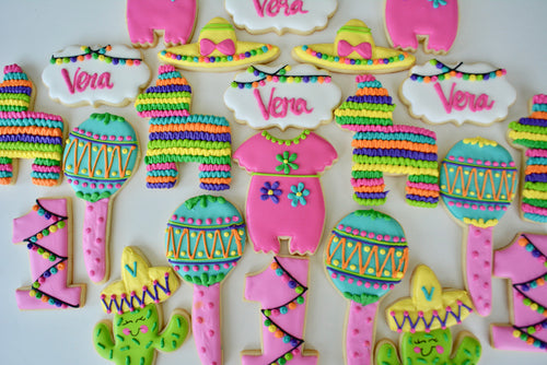 Two Dozen Fiesta Themed Sugar Cookies