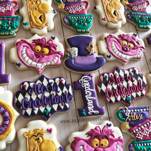 Two Dozen Alice in Wonderland Themed Decorated Sugar Cookies