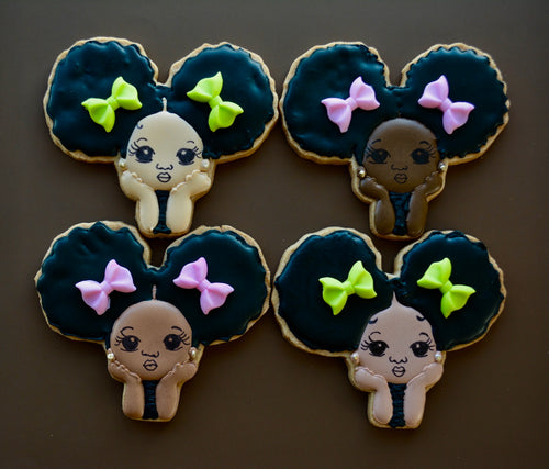 Afro Baby Girl Melanin Collection Custom Sugar Cookies