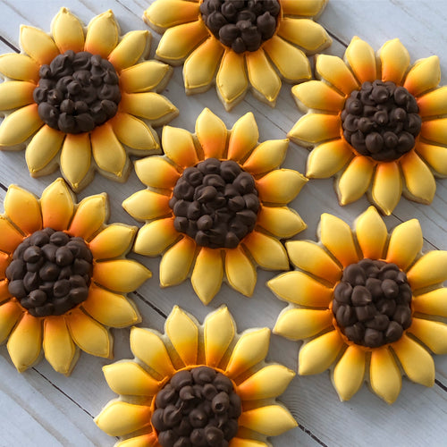 One Dozen Sunflower Sugar Cookies