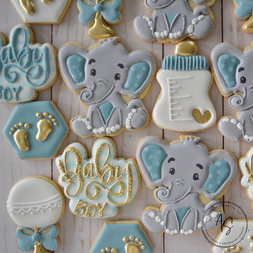 24 Elephant Themed Baby Shower Cookies