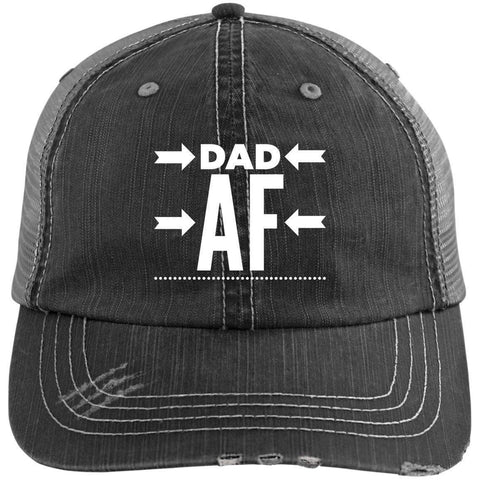 Dad AF Distressed Unstructured Trucker Cap Hats CustomCat Black/Grey One Size