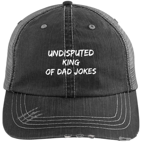 King of Dad Jokes Distressed Unstructured Trucker Cap Hats CustomCat Black/Grey One Size