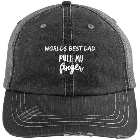Pull My Finger Distressed Unstructured Trucker Cap Hats CustomCat Black/Grey One Size