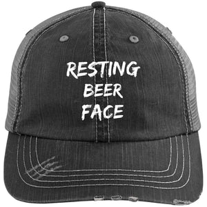 Resting Beer Face Distressed Unstructured Trucker Cap Hats CustomCat Black/Grey One Size