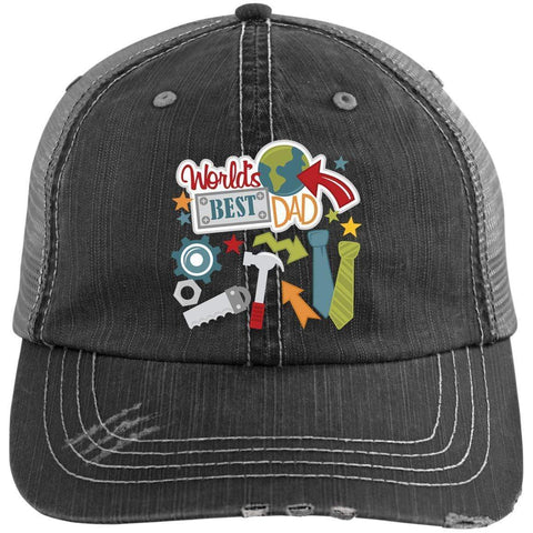 World's Best Dad Distressed Unstructured Trucker Cap Hats CustomCat Black/Grey One Size