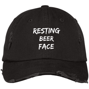 Resting Beer Face District Distressed Dad Cap Hats CustomCat Black One Size