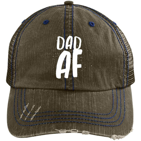 Dad AF Distressed Unstructured Trucker Cap Hats CustomCat Brown/Navy One Size