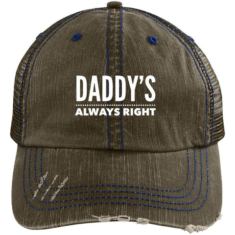 Daddy's Always Right Distressed Unstructured Trucker Cap Hats CustomCat Brown/Navy One Size