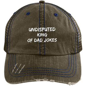 King of Dad Jokes Distressed Unstructured Trucker Cap Hats CustomCat Brown/Navy One Size