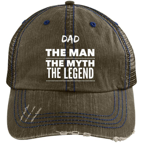 Dad the Man the Myth the Legend Distressed Unstructured Trucker Cap Hats CustomCat Brown/Navy One Size