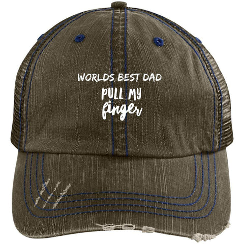 Pull My Finger Distressed Unstructured Trucker Cap Hats CustomCat Brown/Navy One Size