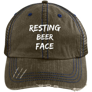 Resting Beer Face Distressed Unstructured Trucker Cap