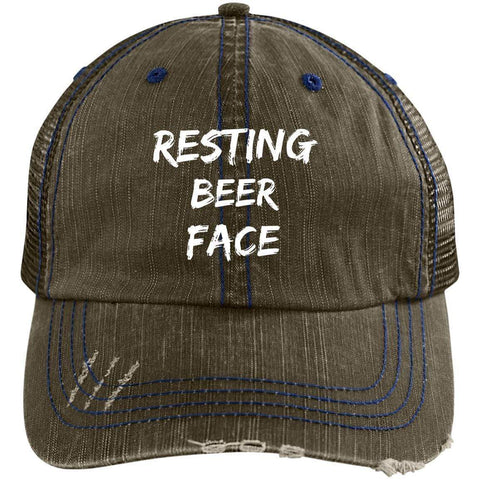 Resting Beer Face Distressed Unstructured Trucker Cap Hats CustomCat Brown/Navy One Size