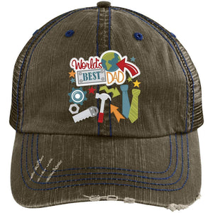 World's Best Dad Distressed Unstructured Trucker Cap