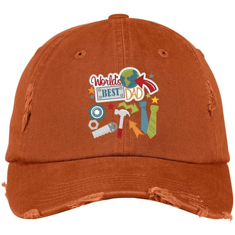 World's Best Dad District Distressed Dad Cap Hats CustomCat Burnt Orange One Size