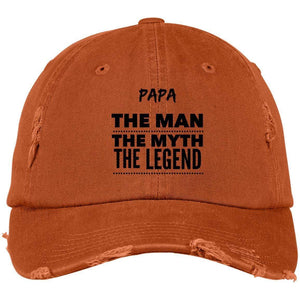 Papa the Man the Myth the Legend District Distressed Dad Cap Hats CustomCat Burnt Orange One Size
