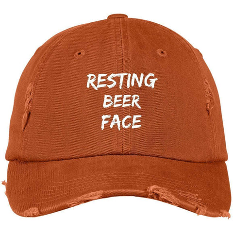 Resting Beer Face District Distressed Dad Cap Hats CustomCat Burnt Orange One Size