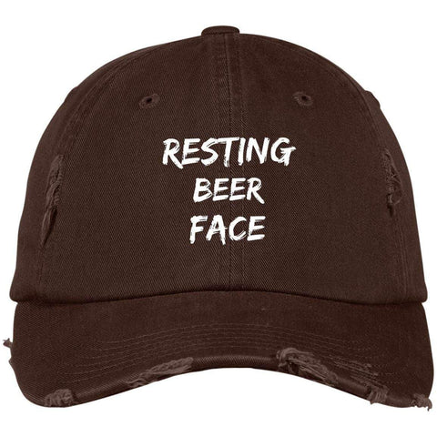 Resting Beer Face District Distressed Dad Cap Hats CustomCat Chocolate Brown One Size