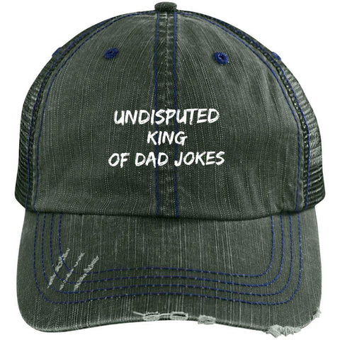 King of Dad Jokes Distressed Unstructured Trucker Cap Hats CustomCat Dark Green/Navy One Size