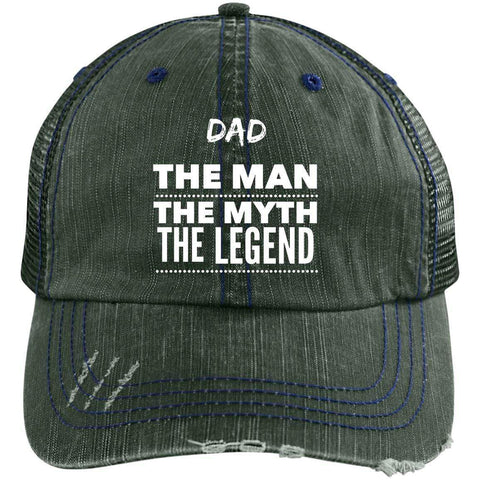 Dad the Man the Myth the Legend Distressed Unstructured Trucker Cap Hats CustomCat Dark Green/Navy One Size