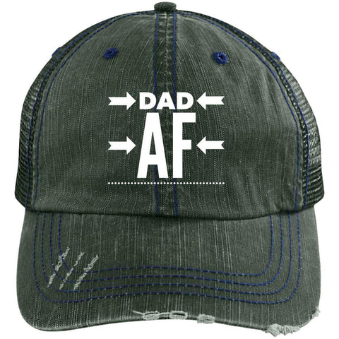 Dad AF Distressed Unstructured Trucker Cap Hats CustomCat Dark Green/Navy One Size