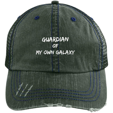 Guardian Distressed Unstructured Trucker Cap Hats CustomCat Dark Green/Navy One Size