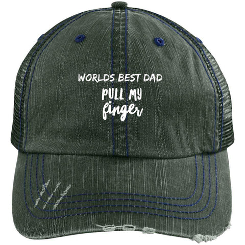 Pull My Finger Distressed Unstructured Trucker Cap Hats CustomCat Dark Green/Navy One Size