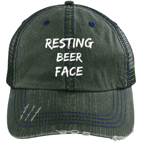 Resting Beer Face Distressed Unstructured Trucker Cap Hats CustomCat Dark Green/Navy One Size