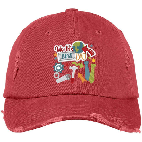 World's Best Dad District Distressed Dad Cap Hats CustomCat Dashing Red One Size