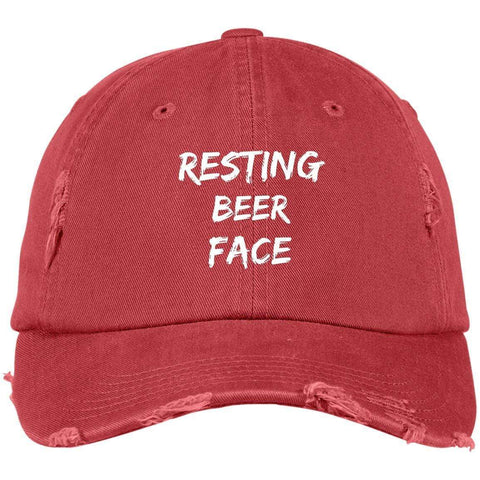 Resting Beer Face District Distressed Dad Cap Hats CustomCat Dashing Red One Size