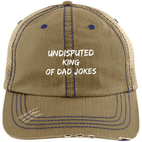 King of Dad Jokes Distressed Unstructured Trucker Cap Hats CustomCat Khaki/Navy One Size