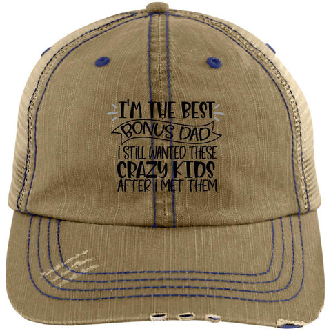Best Bonus Dad Distressed Unstructured Trucker Cap Hats CustomCat Khaki/Navy One Size