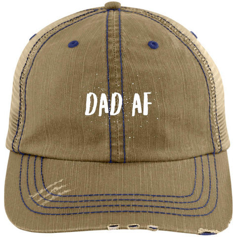 Dad AF Distressed Unstructured Trucker Cap Hats CustomCat Khaki/Navy One Size