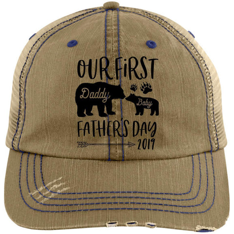 First Father's Day Distressed Unstructured Trucker Cap Hats CustomCat Khaki/Navy One Size