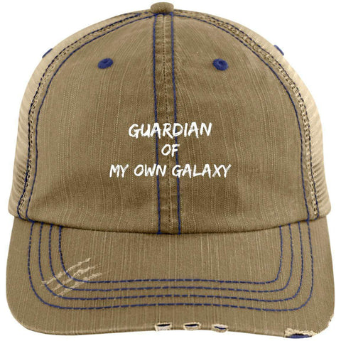 Guardian Distressed Unstructured Trucker Cap Hats CustomCat Khaki/Navy One Size