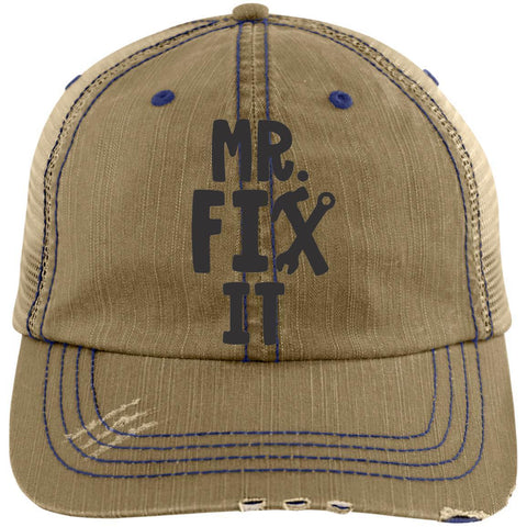 Mr. Fix It Distressed Unstructured Trucker Cap Hats CustomCat Khaki/Navy One Size