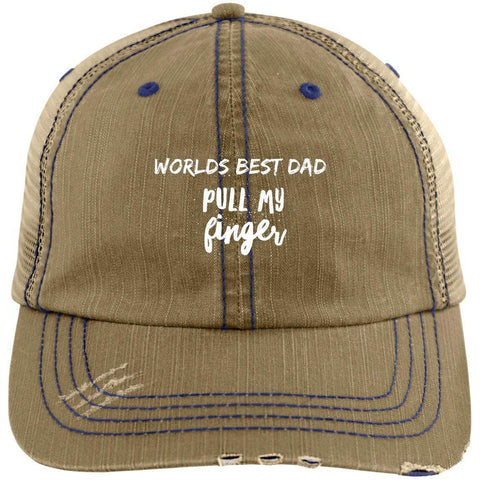 Pull My Finger Distressed Unstructured Trucker Cap Hats CustomCat Khaki/Navy One Size
