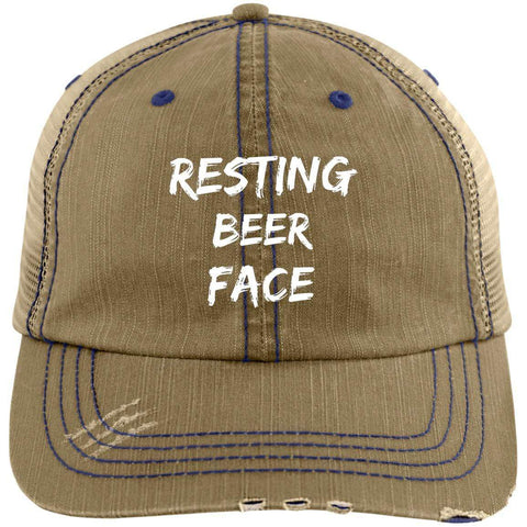 Resting Beer Face Distressed Unstructured Trucker Cap Hats CustomCat Khaki/Navy One Size
