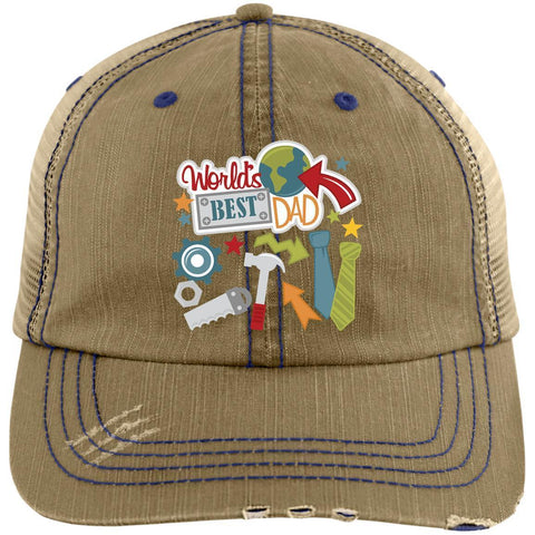 World's Best Dad Distressed Unstructured Trucker Cap Hats CustomCat Khaki/Navy One Size