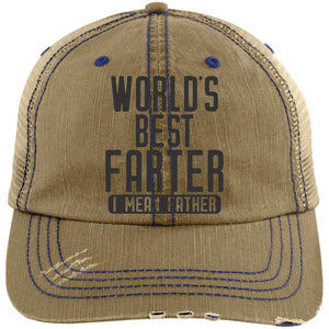 World's Best Farter 2 Distressed Unstructured Trucker Cap Hats CustomCat Khaki/Navy One Size