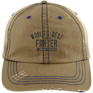 World's Best Farter Distressed Unstructured Trucker Cap Hats CustomCat Khaki/Navy One Size
