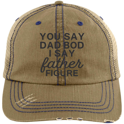 CustomCat Hats Khaki/Navy / One Size You Say Dad Bod Distressed Unstructured Trucker Cap