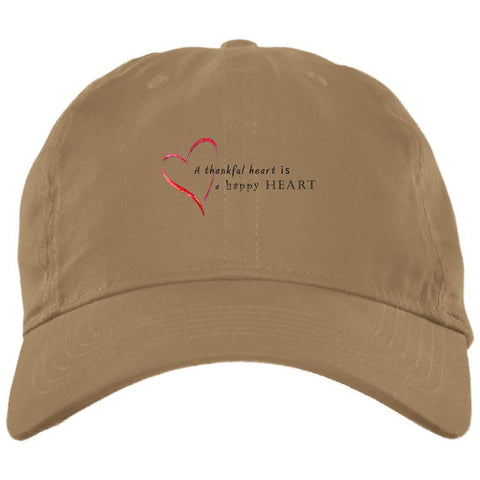 A Thankful Heart Brushed Twill Unstructured Dad Cap Hats CustomCat Khaki One Size