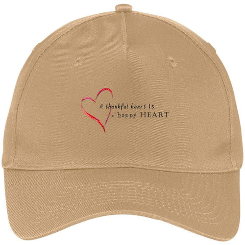 A Thankful Heart Port & Co. Five Panel Twill Cap Hats CustomCat Khaki One Size