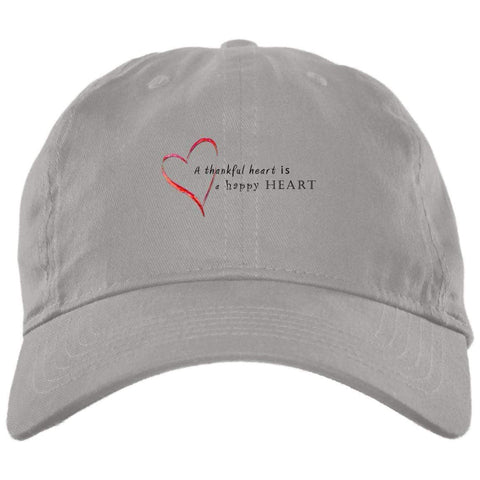 A Thankful Heart Brushed Twill Unstructured Dad Cap Hats CustomCat Light Grey One Size