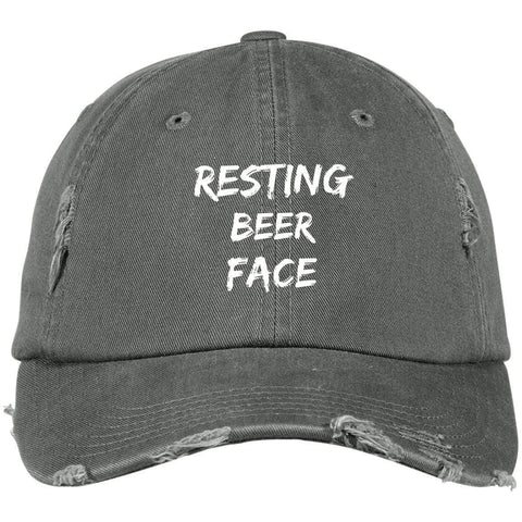Resting Beer Face District Distressed Dad Cap Hats CustomCat Light Olive One Size