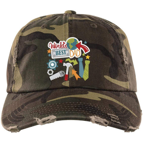 World's Best Dad District Distressed Dad Cap Hats CustomCat Military Camo One Size